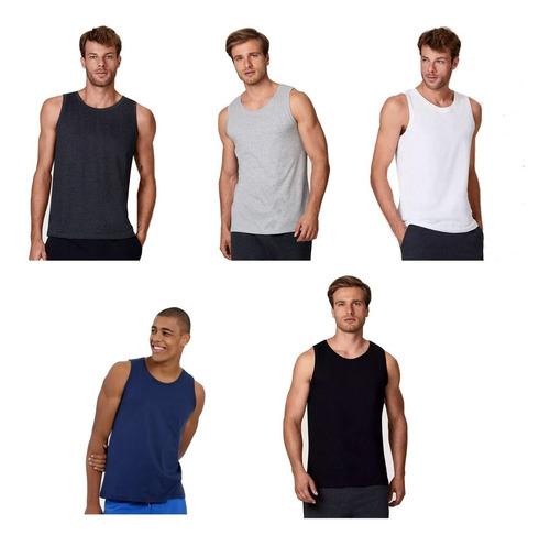 Kit 5 Camisetas Regata Masculina Lisa Básica Camisa Blusa Original