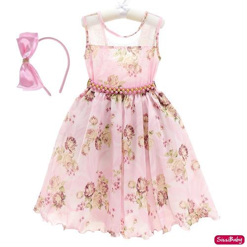 01c0dffc40a Vestido Festa Infantil Floral Luxo Formatura Tiara 4/16 - SissiBaby