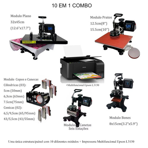 Prensa Termica 10 Em 1 A3 A4  impressora Epson L3150 110volt Original