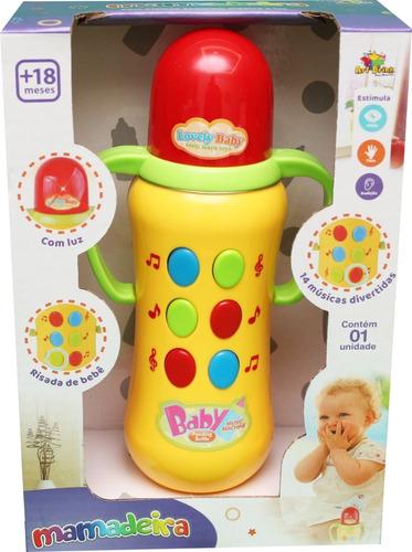 Brinquedo Para Bebê Mamadeira 14 Músicas Som Luz Colorido Original