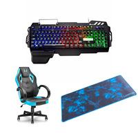 Kit Gamer com Cadeira + Mouse Pad Para Teclado e Mouse + Teclado Semi Mecânico Multilaser