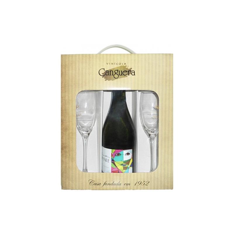 Kit Prosseco Frisante + 2 Taças + Embalagem p/ Presente - Aldegheri