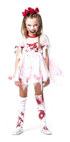 Fantasia De Halloween Infantil Noivinha Ensanguentada C/ Véu Original