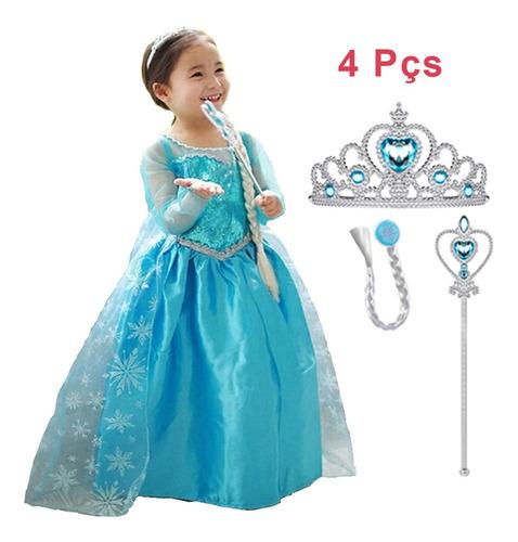 Vestido Infantil Fantasia Frozen Princesa Elsa Longo E Kit Original