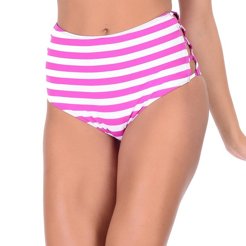 Calcinha Summer Soul Hot Pants Listrado Rosa e Branco