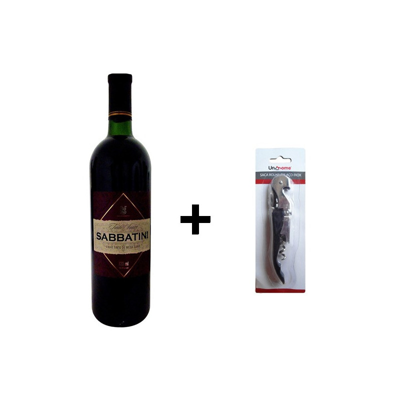 Kit Vinho Tinto Tradicional 720ml + Saca Rolha 2 Estágios - Sabbatini