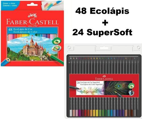 Lápis De Cor Faber Castell 72 Cores (48 Eco + 24 Supersoft) Original