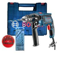 Kit - Furadeira de Impacto 650W 13mm 113D GSB 13 RE + Maleta e Kit 5 Brocas +Jogo 7 Bits + Adaptador - 220 Volts