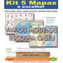 Kit Com 5 Mapas Mundi Brasil Pais Corpo Enrolado Escolha