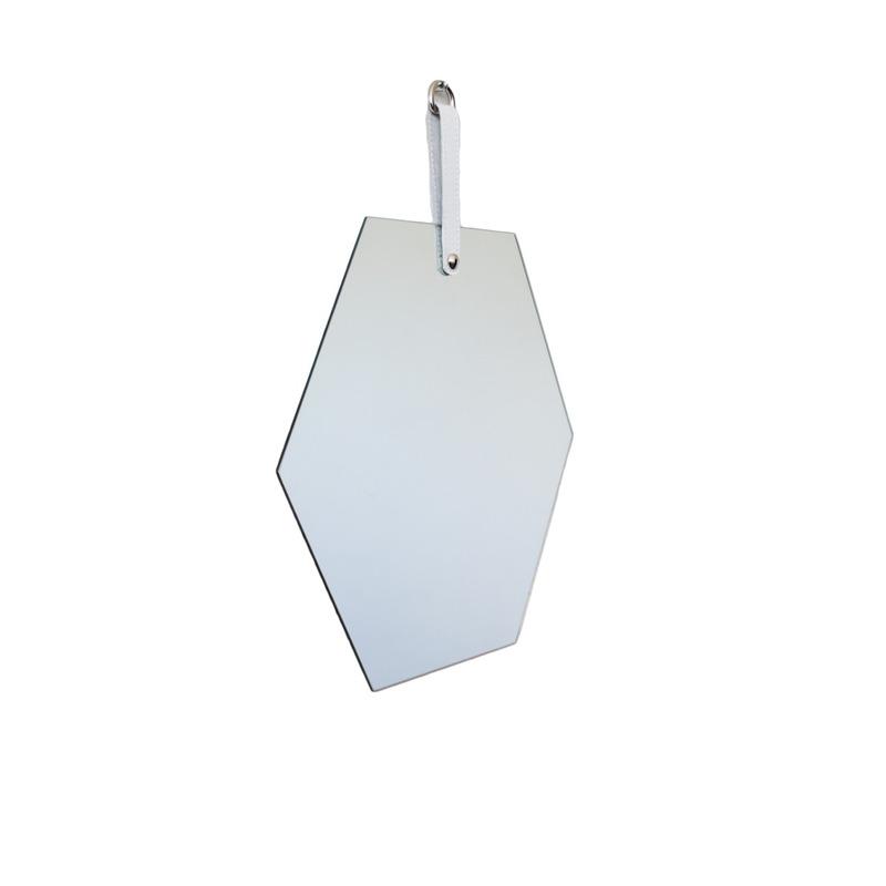 Espelho Geometric Oruy com Alça em Couro Legítimo Hexagonal 35cm