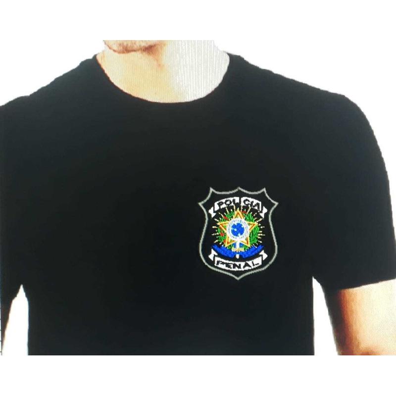 Camisa Polícia Penal - DEPEN - Modelo 3 - Preta  Bordada