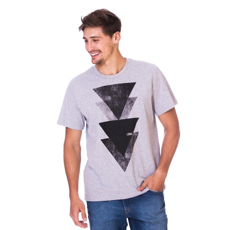 Camiseta Long Island Triângulos Cinza