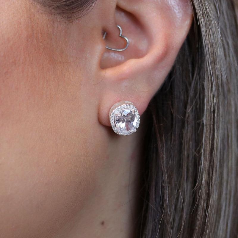 Brinco oval cristal - BR030036