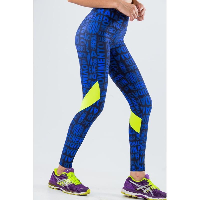 Legging Recorte Fluor Light Palavras Azul/Rosa