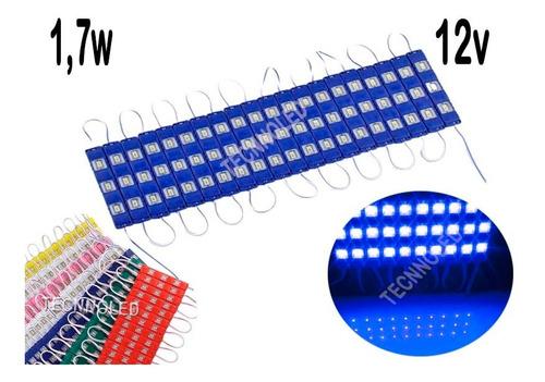 300 Módulo 7020 12v 3led Ip65 Azul  Cores Injetado 1,7w Original