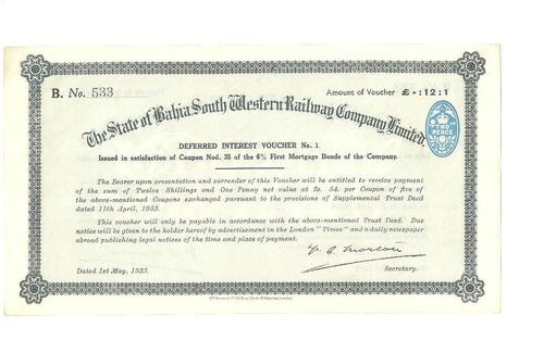 Apolice The State Of Bahia Railway Company - 1933. Original