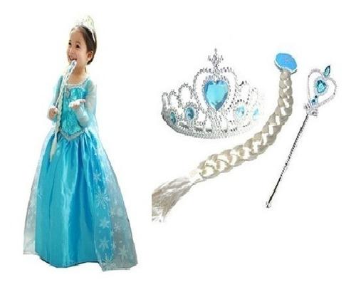 Vestido Da Elsa Fantasia Frozen Princesa Infantil 1 + Kit Original