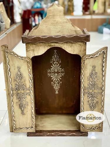 Oratório Capela Madeira Patina Grande 68cm P/ Santo Até 45cm Original