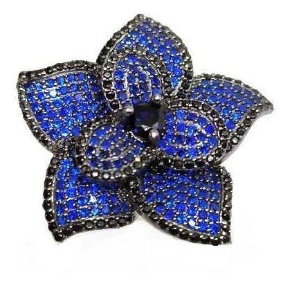 Gx1- Anel Flor Prata 925 Zirconia Azul Rodio Negro Original