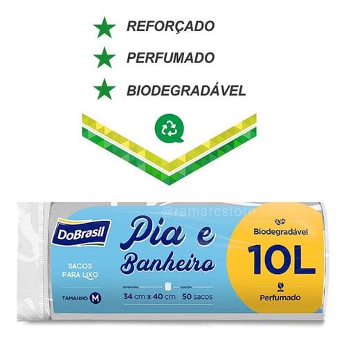 Saco Para Lixo Banheiro E Pia Perfumado 10 Lts 50 Unidades Original