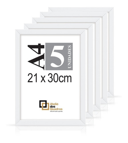 Quadro Moldura A4 21x30 C Vidro Poster Certificado Foto Kit5 Original