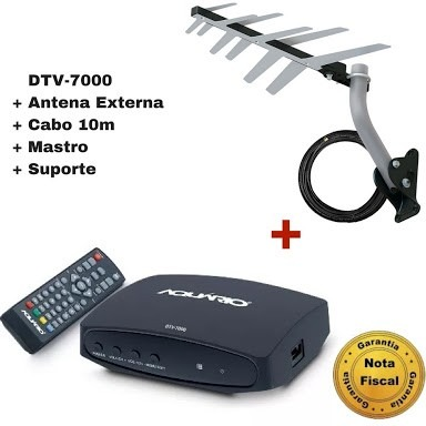 Kit Conversor Digital Dtv7000 + Antena Externahdtv Dtv-1500s em São Paulo