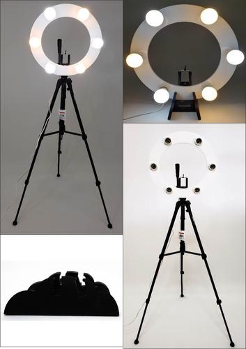 Ring Light 06 Soquetes E27 2em1 + Tripé + Kit Selfie Original