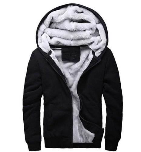 Blusa Jaqueta De Frio Masculina Com Capuz Com Forro De Lã