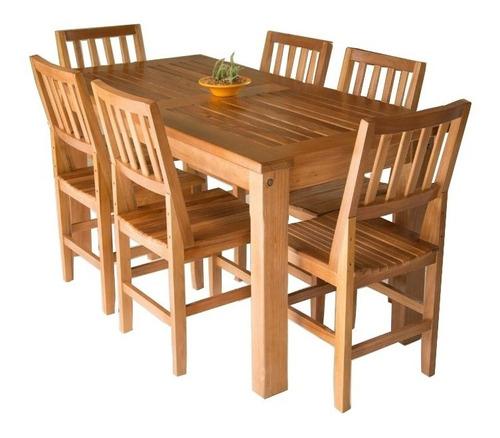 Jogo Mesa Jantar  Retangular 1,60m E 6 Cadeiras Madeira Original
